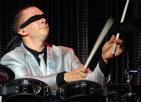 Blind folded drummer
